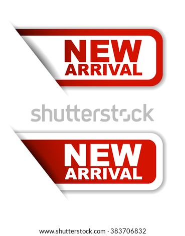 Red easy vector illustration isolated horizontal banner new arrival two versions. This element is well adapted to web design. - stock vector