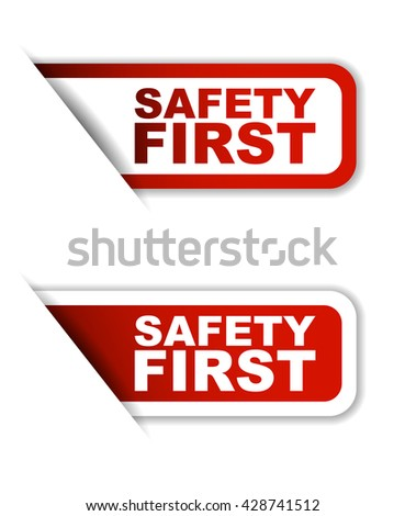 Red easy vector illustration isolated horizontal banner safety first two versions. This element is well adapted to web design. - stock vector