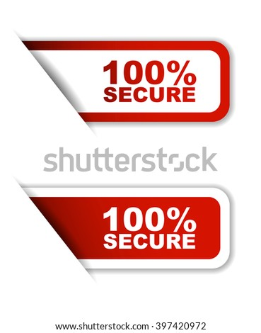 Red easy vector illustration isolated horizontal banner 100% secure two versions. This element is well adapted to web design. - stock vector