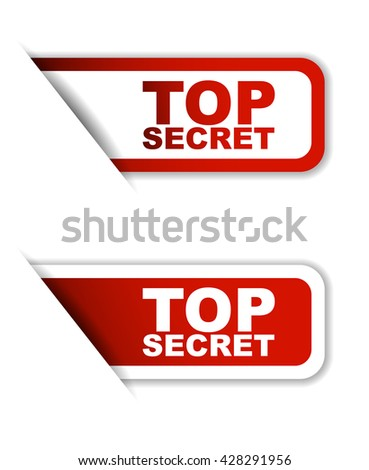Red easy vector illustration isolated horizontal banner top secret two versions. This element is well adapted to web design.