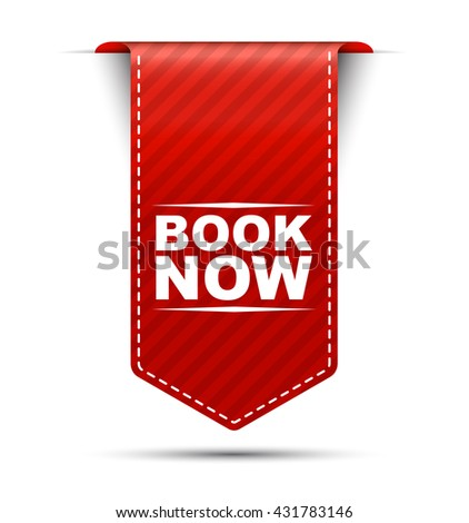 Red easy vector illustration isolated ribbon banner book now. This element is well adapted to web design. - stock vector