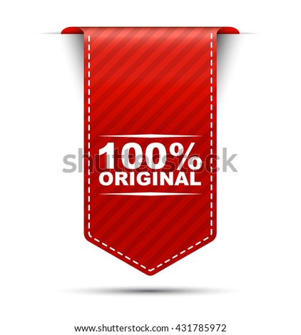 Red easy vector illustration isolated ribbon banner 100% original. This element is well adapted to web design. - stock vector