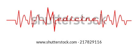Red ekg - medical design. Life line forming word medicine, vector art image illustration, isolated on white background  - stock vector