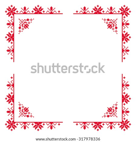 Red embroidery corner elements, frame - stock vector