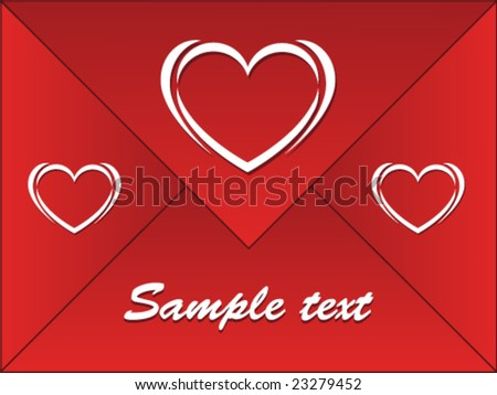 red envelope with hearts - stock vector