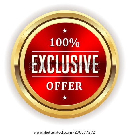 Red exclusive offer seal with gold border on white background - stock vector