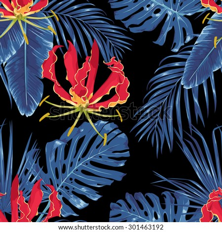 Red exotic flowers and tropical leaves. Night jungle. Seamless pattern. Vector background. - stock vector