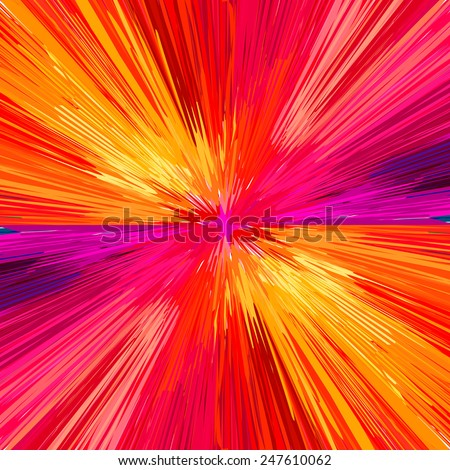 Red explosion, abstract background. Vector illustration, EPS10. - stock vector