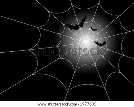 Red-eyed bats in flight against a moonlit night, with a spiderweb in the foreground. - stock vector