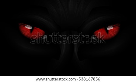 red eyes black Panther on dark background
