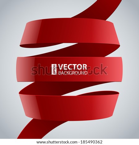 Red fabric curved ribbon on grey background. RGB EPS 10 vector illustration - stock vector