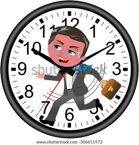 Red faced businessman running against time in a wall clock isolated - stock vector