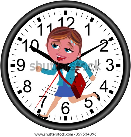 Red faced businesswoman running against time in a wall clock getting strangled by clock hands isolated - stock vector