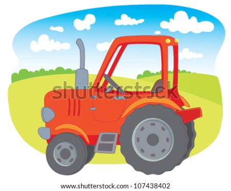 Red farm tractor - stock vector
