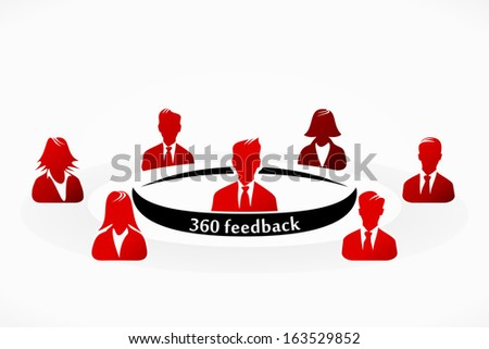 Red 360 feedback people group abstract silhouettes illustration  - stock vector