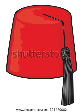 red fez hat - stock vector