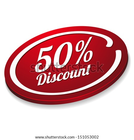 Red fifty percent discount button - stock vector