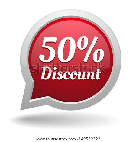 Red fifty percent discount speech bubble