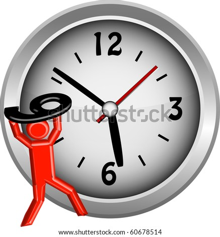 Red figure lifting the number 9 onto a clock face illustration vector - stock vector