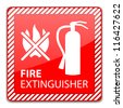 Red Fire Extinguisher Sign isolated on white. Vector Illustration - stock vector