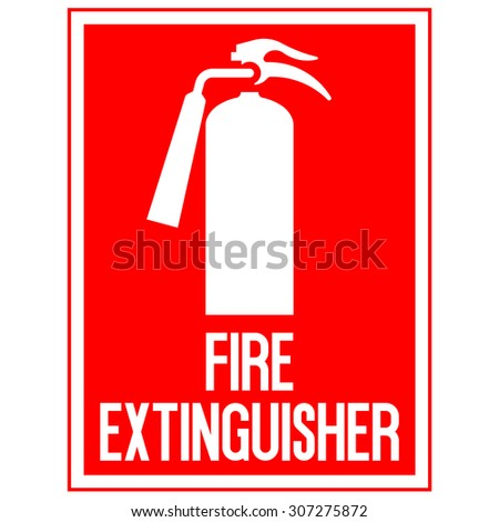 red fire extinguisher sign on a white background
