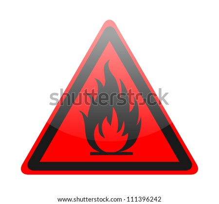 Red fire sign on white - stock vector