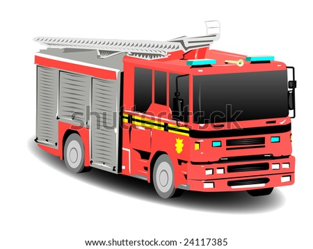 Red Firetruck Fire Engine Over White - stock vector