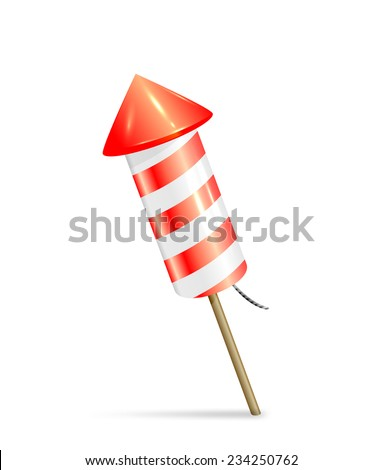 Red fireworks rocket isolated on white background, illustration. - stock vector