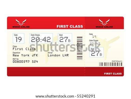Red first class plane ticket with gate number and seat