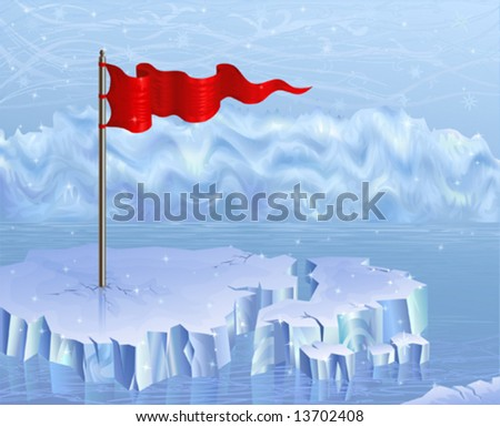 Red flag on an ice floe