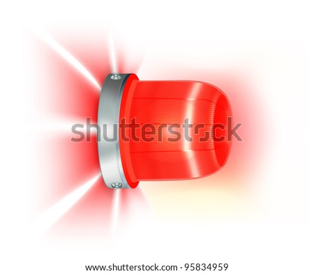 Red flashing light - stock vector