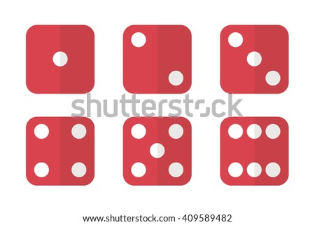 Red flat design dice icons. Six dice vector illustration. Dice icons.  - stock vector