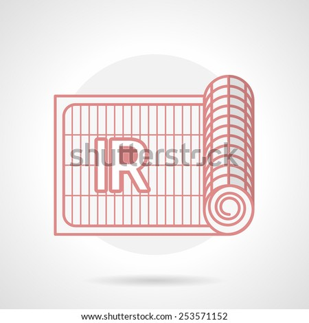Red flat line vector icon for rolled grid of infrared underfloor heating on gray background. - stock vector