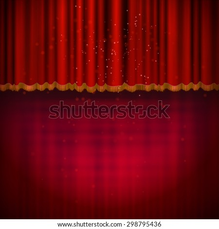 Red floor with red stage curtain. Vector illustration. - stock vector
