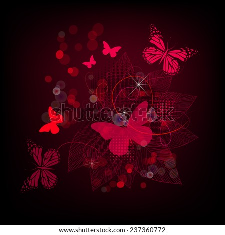 red floral abstraction with butterflies. Vector - stock vector