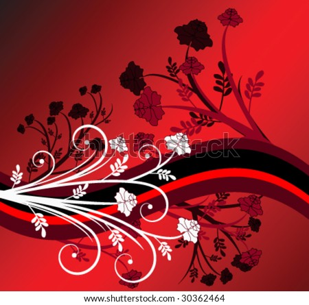 Red floral design - stock vector