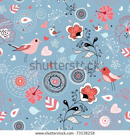 red floral graphic design with birds