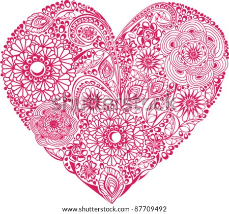 Red floral heart on white background. Element for your Valentine`s Day Design - stock vector