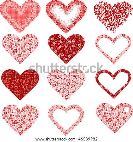 red flower heart end square in the form of heart vector illustration - stock vector