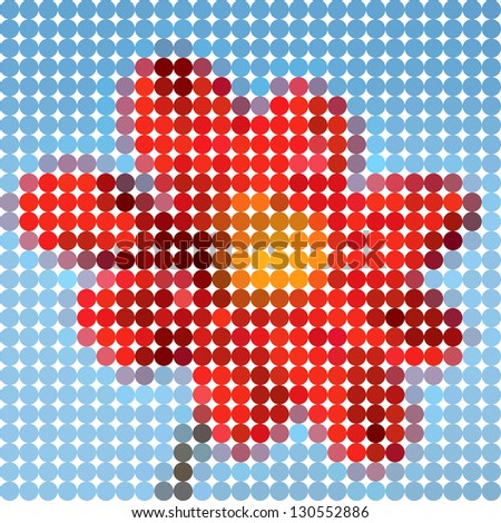 Red flower. Vector circle color ton dots. - stock vector