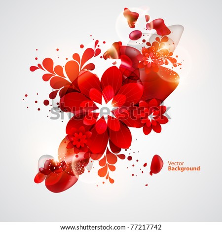 Red Flower with abstract elements - stock vector