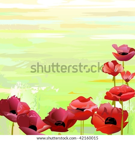 Red flowers over green paint - stock vector