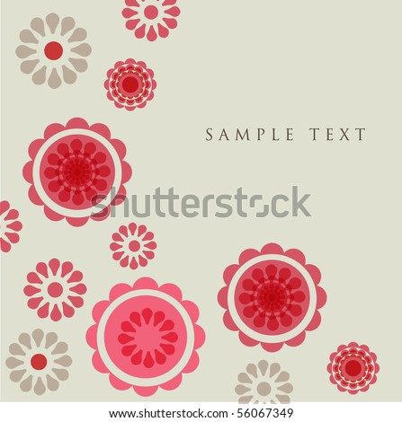 Red  flowers. Vector greeting card. - stock vector