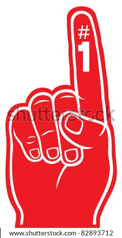 red foam finger - stock vector