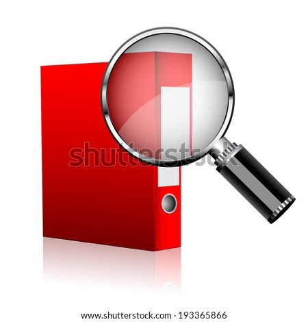 Red folder with magnifier - stock vector