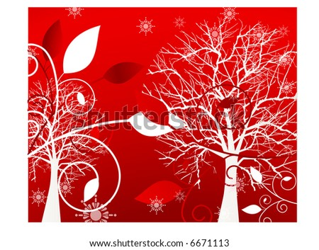 red foliage - stock vector