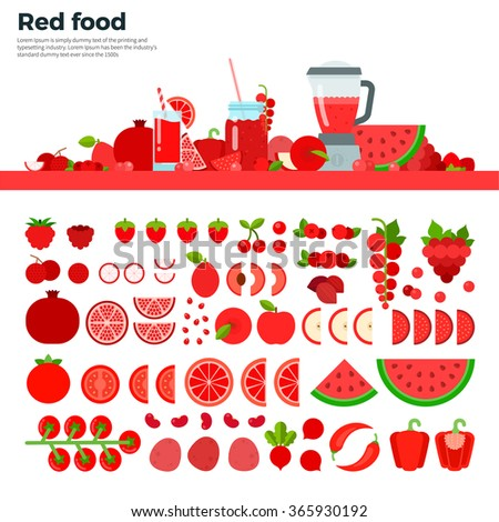 Red food vector flat illustrations. Red vegetables, fruits and blender on the table. Full of vitamins healthy eating concept. Red fruits and vegetables isolated on white background - stock vector