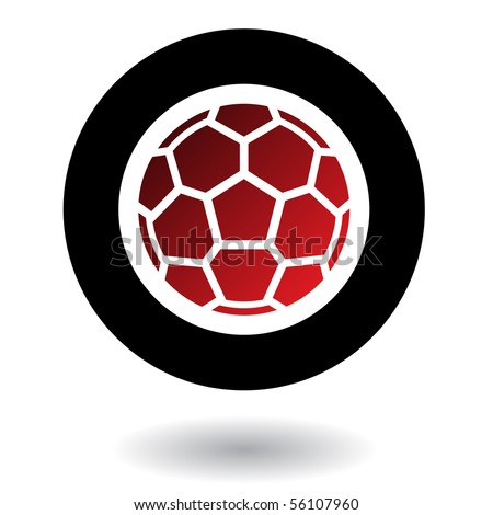 Red football in black circle isolated on white - stock vector