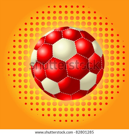 Red footballs on the halftone backgrounds - stock vector