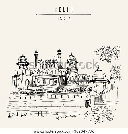 Red Fort in Delhi, India. Vintage hand drawn postcard template. Vector illustration - stock vector